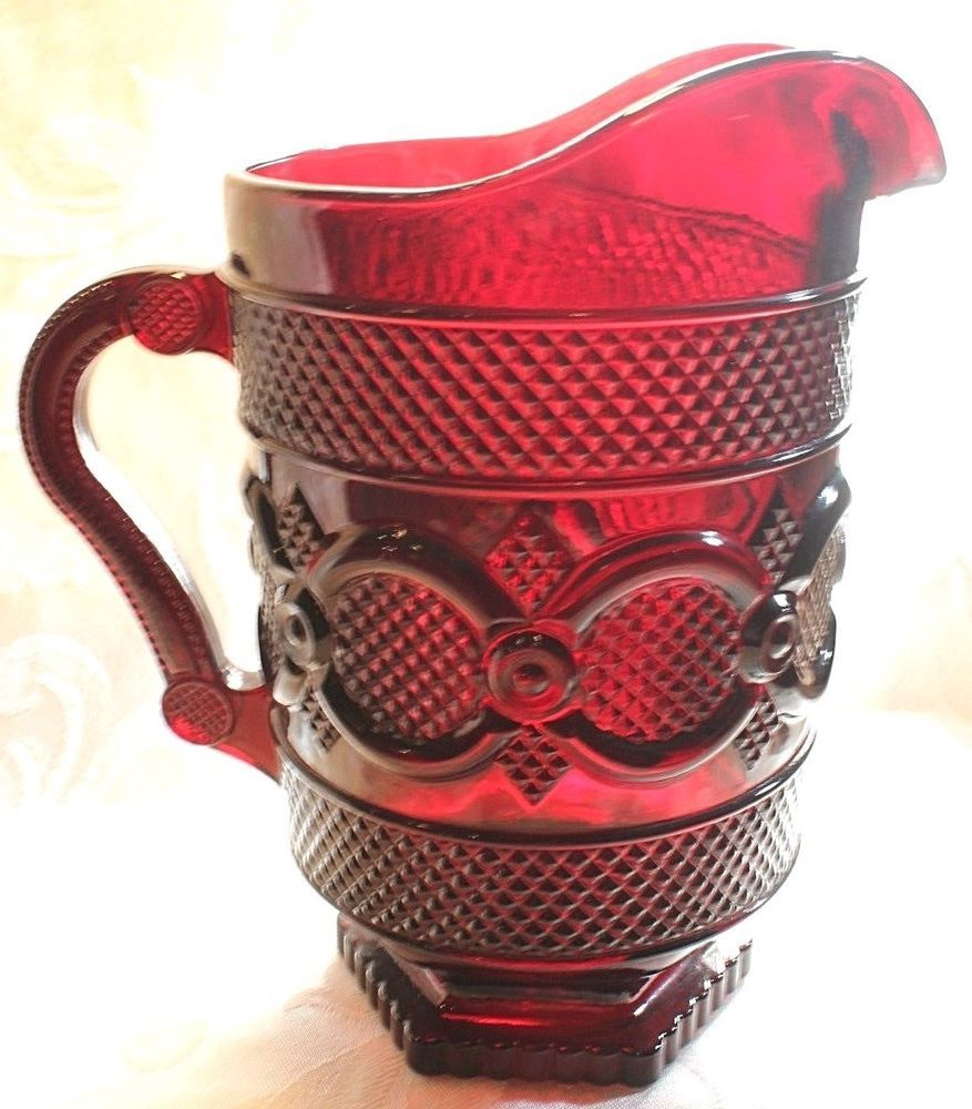 1876 Cape Cod By Avon Ruby Red 46 Oz Pitcher Elegant Tableware Ruby Red Avon Collectibles Vintage Glassware