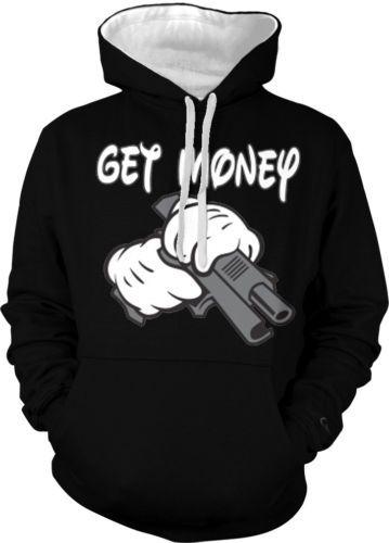 Get-Money-Cartoon-Hands-Gun-Thug-Swag -Urban-Hip-Hop-Rap-2-tone-Hoodie-Pullover 3dbacbc138a0