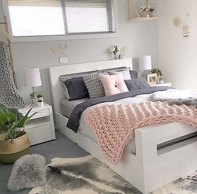 The Bedroom Of Our Customer Style Create Inspire With Our Blush Button Cushion Handmade In Denmar Grey Bedroom Design Pink Bedroom Decor Grey And Gold Bedroom