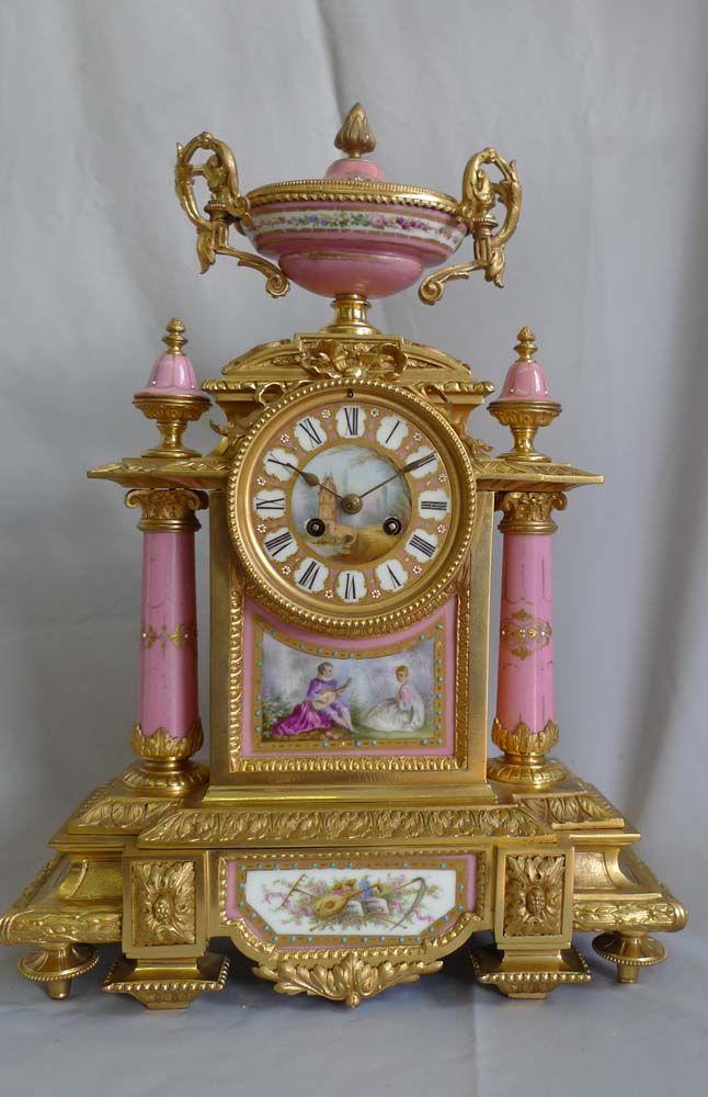 Antique French Mantel Clock Porcelain And Ormolu