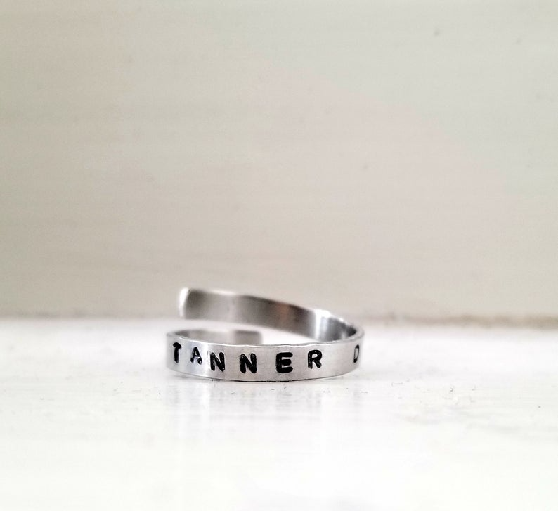 Hand Stamped Jewelry Custom Wrap Name Ring Spiral Ring Engraved Name Ring Personalized Jewelry Skinny Ring