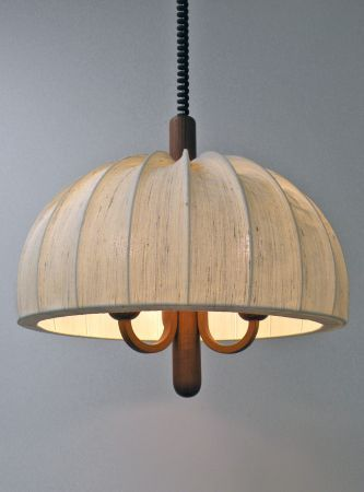Craigslist Md 150 Would Love To Have This In My Dining Room Ad Vintage Teak Chandelier With Raw Silk Fabri Fabric Shades Home Decor Teak
