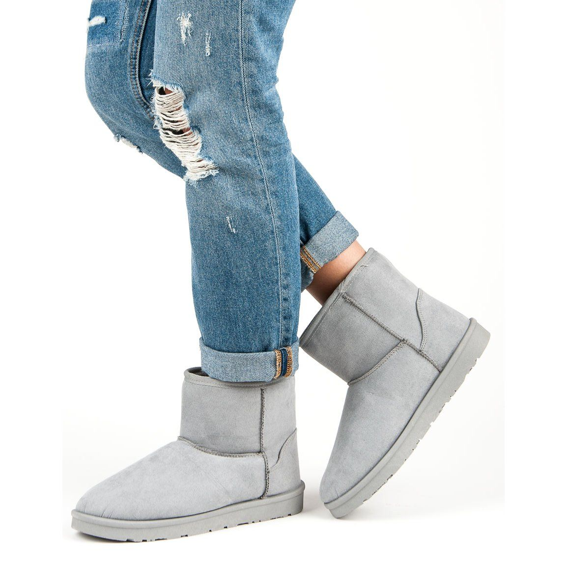 Sniegowce Damskie Vices Vices Szare Zamszowe Mukluki Vices Bearpaw Boots Ugg Boots Boots
