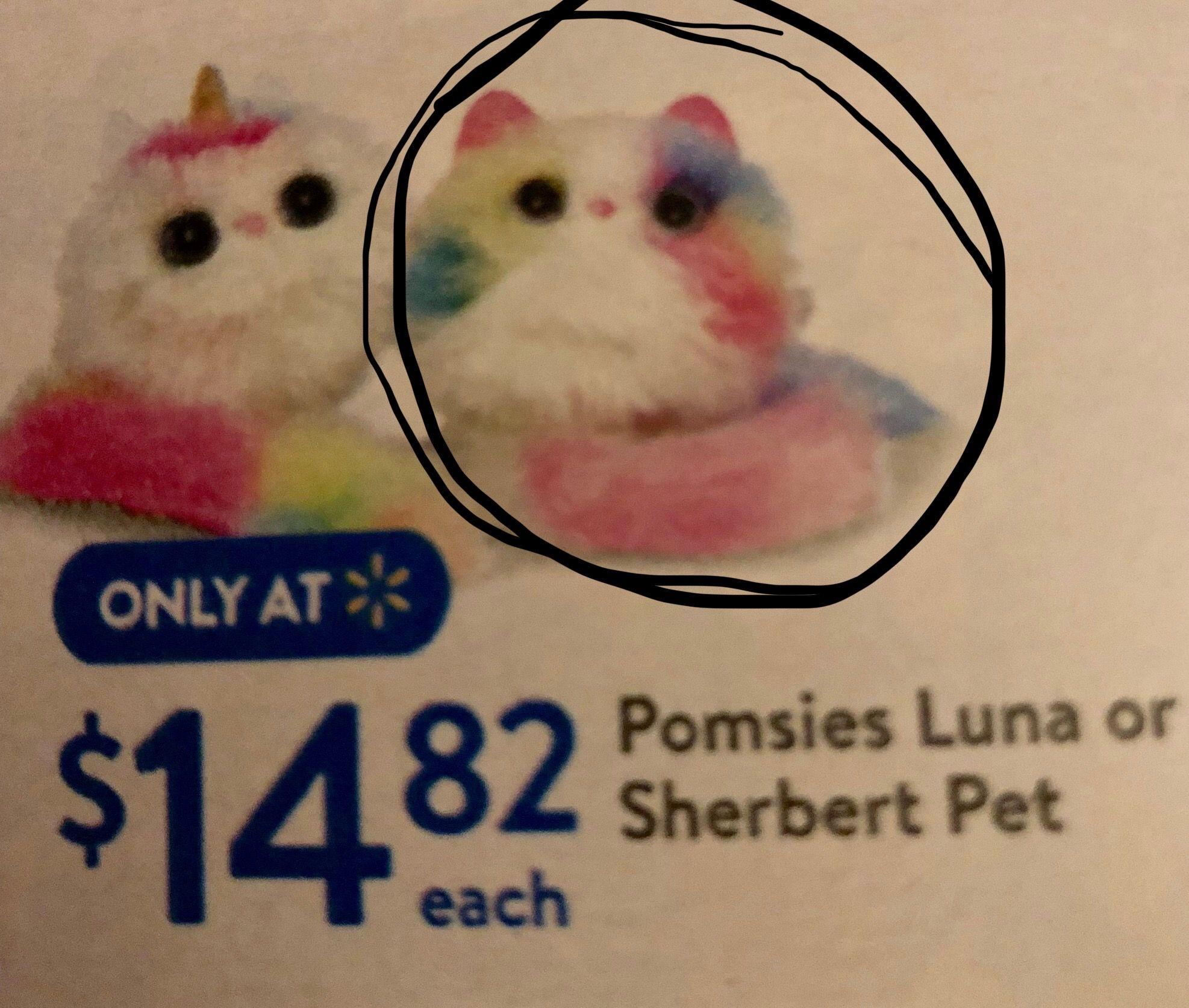 WALMART - Pomsies Luna or Sherbert Pet - $15 (the one she