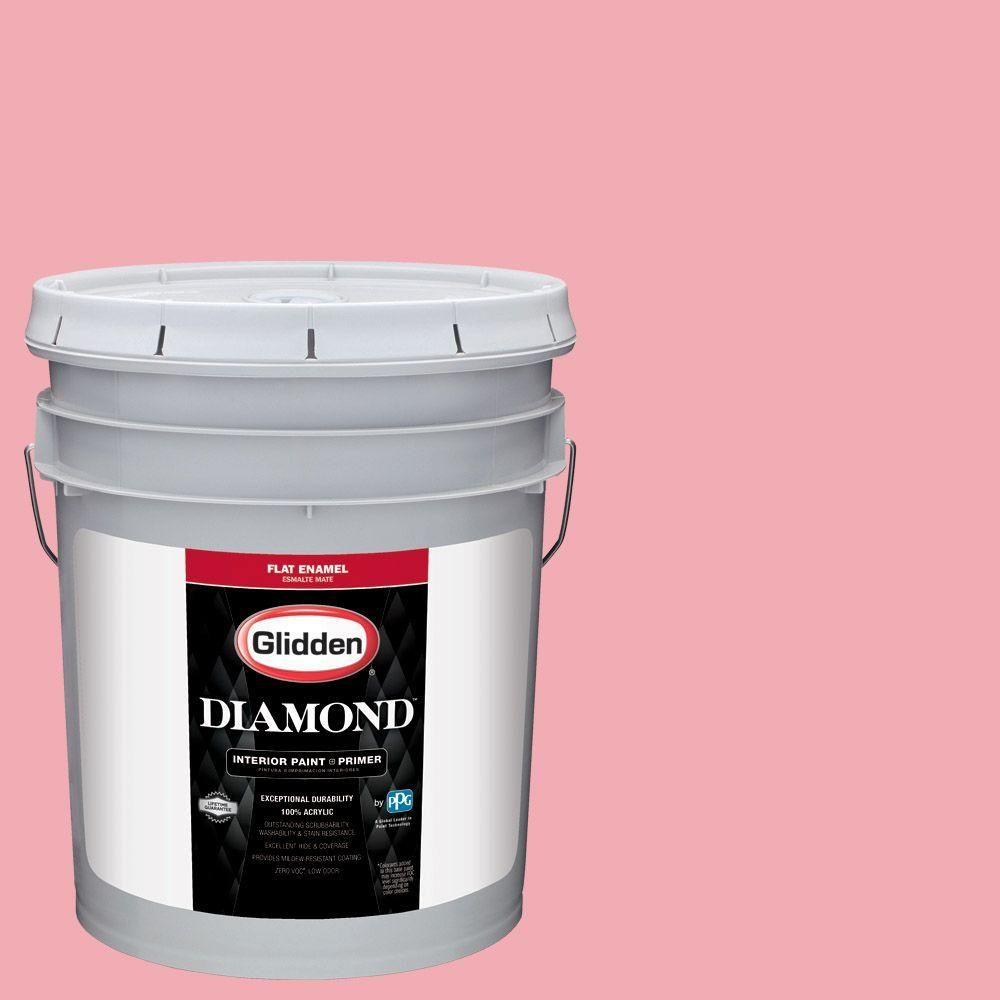 Glidden Diamond 5 gal. #HDGR45 Pink Flamingo Flat Interior Paint with Primer