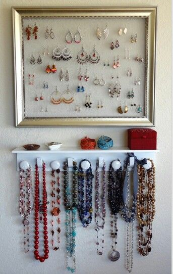 Jewelry display would be great in a walk in closet closets do it yourself jewelry organizer for earrings and necklaces the earring holder is made from a picture frame and an aluminum screen solutioingenieria Images