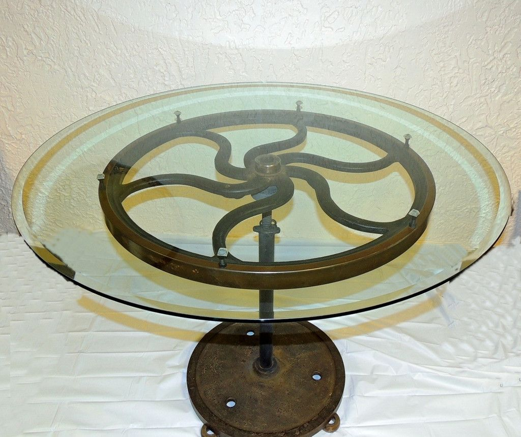 Industrial Cast Iron Wheel Cafe Table Antique Printing Press Must See
