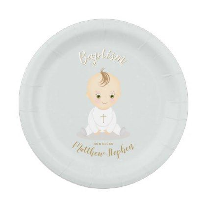 sc 1 st  Pinterest & Baptism Baby Boy Paper Plate