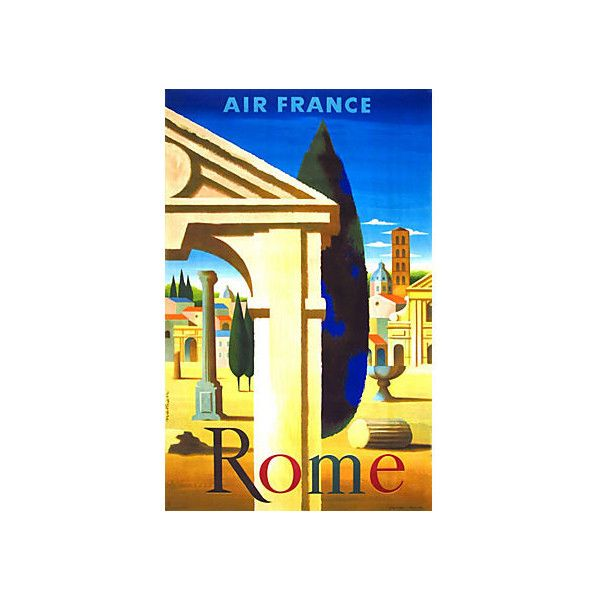 Pre-Owned Original Air France to Rome Poster ($1,945) ❤ liked on ...