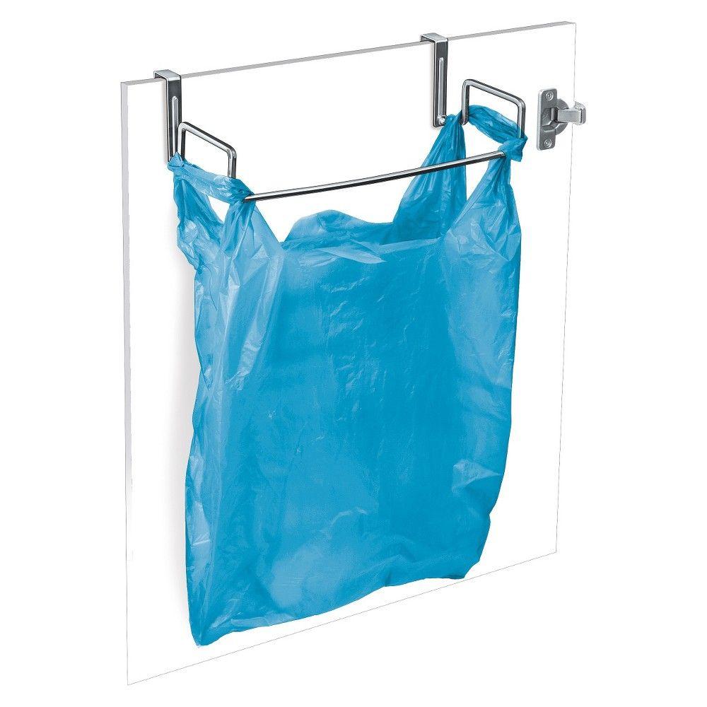 Lynk Over Cabinet Door Organizer - Plastic Bag Holder - Chrome (Grey ...