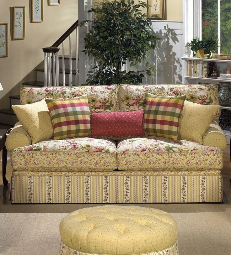 Floral Sofas and Loveseats Cottage Style Lime Green Dining Room