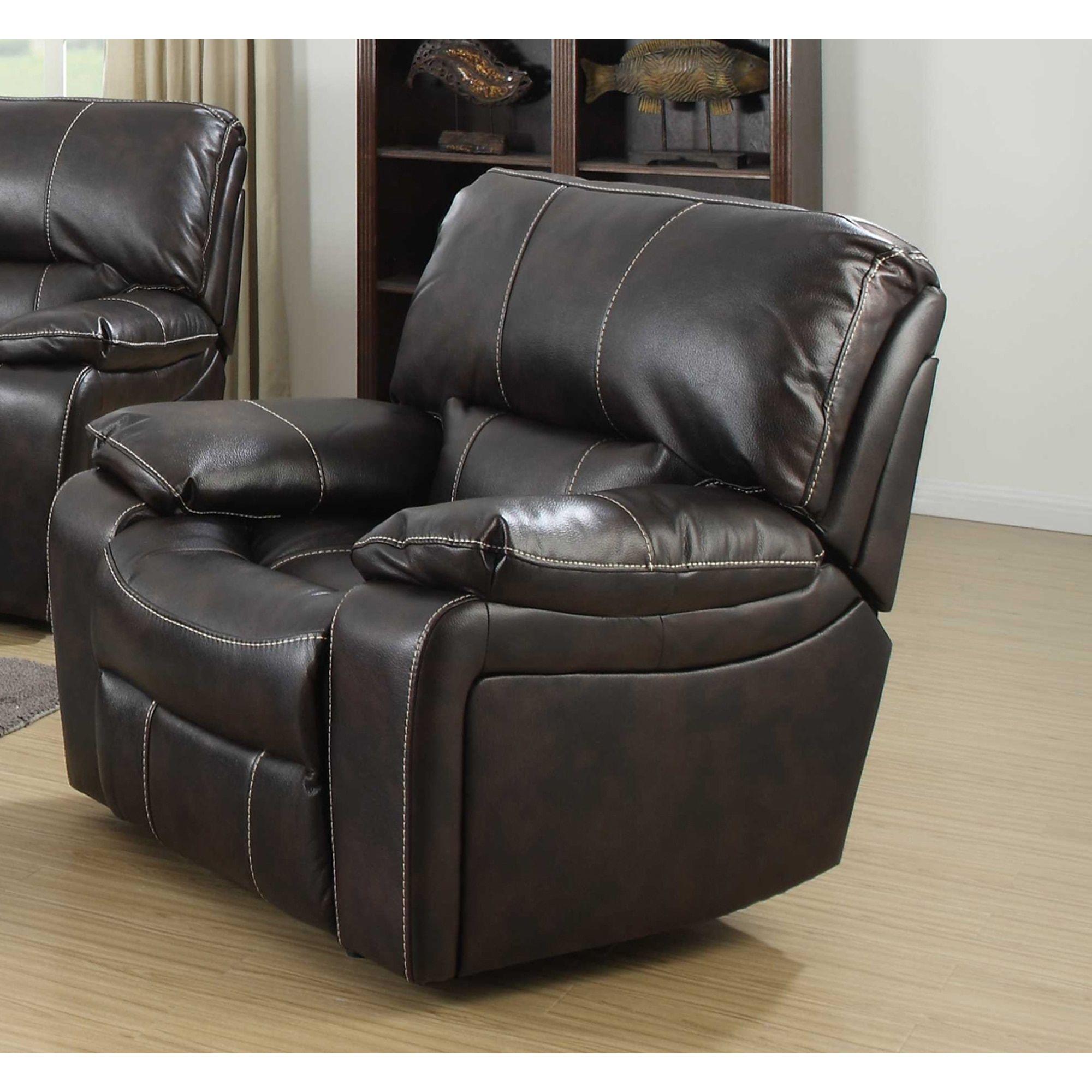 Silverado Contemporary Dark Leather Rocker Recliner Chair