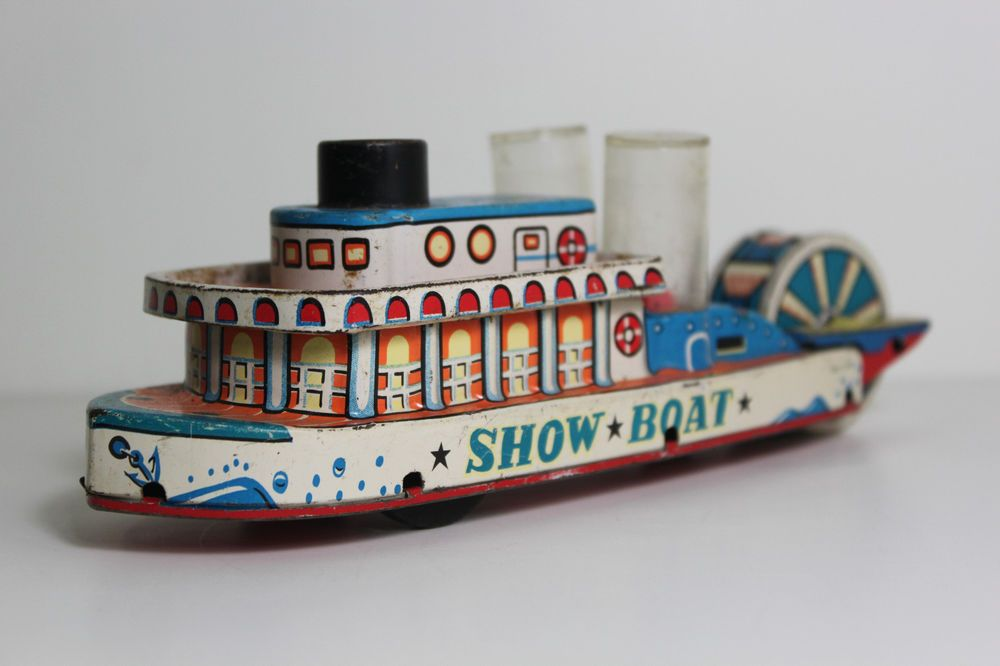 Vintage Tin Show Boat Riverboat Popping Friction Toy Japan