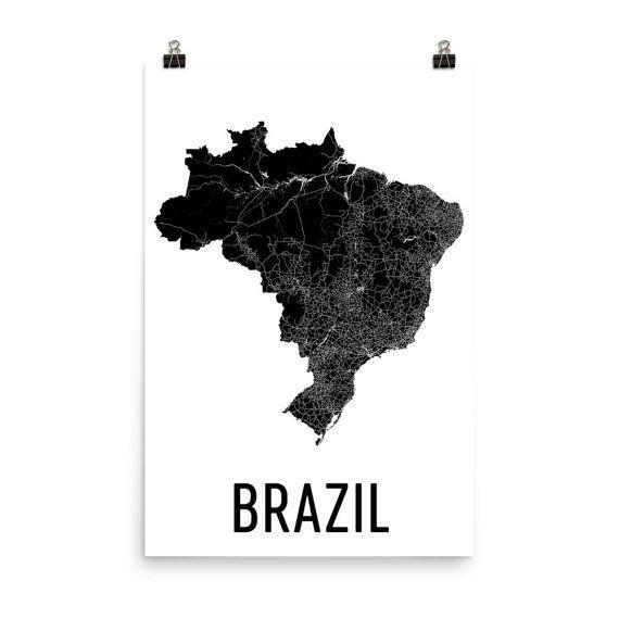 Brazil Map Map Of Brazil Brazil Art Brazilian Decor Etsy Brazil Map Map Art Brazil Art