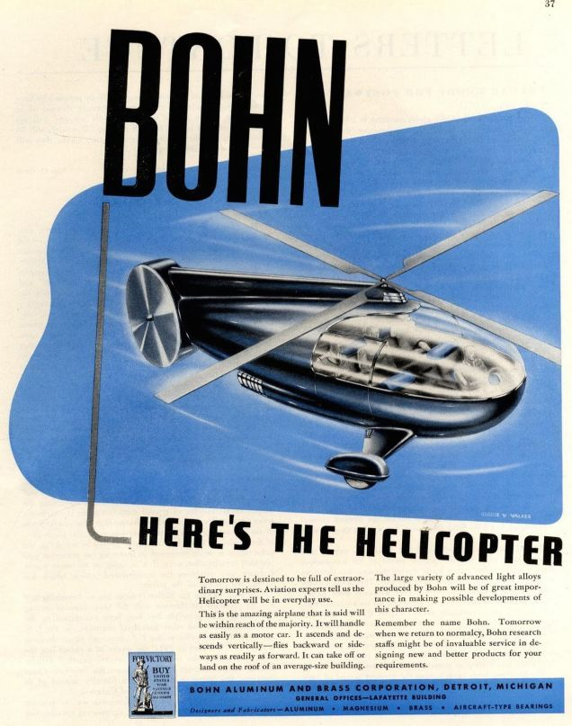 These ads made for the Detroit-based Bohn Aluminum and Brass Corporation were largely dreamed up by legendary illustrator Arthur Radebaugh during the 1940s.