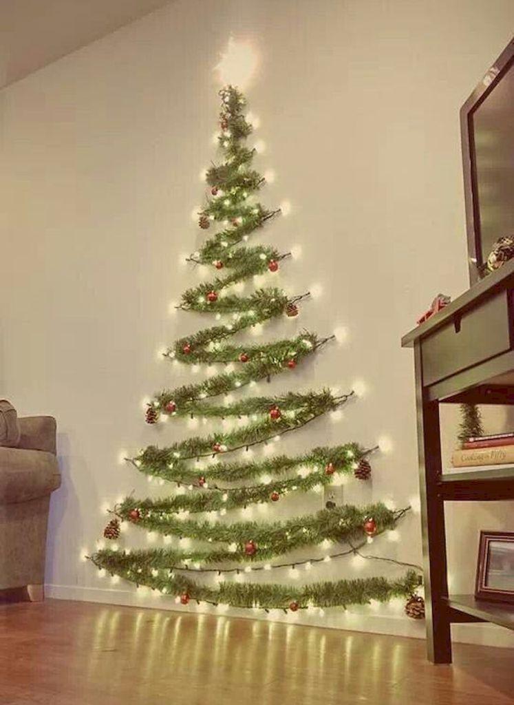60 Simple Living Room Christmas Decorations Ideas 45 Christmas Decorations Apartment Wall Christmas Tree Diy Christmas Light Decorations