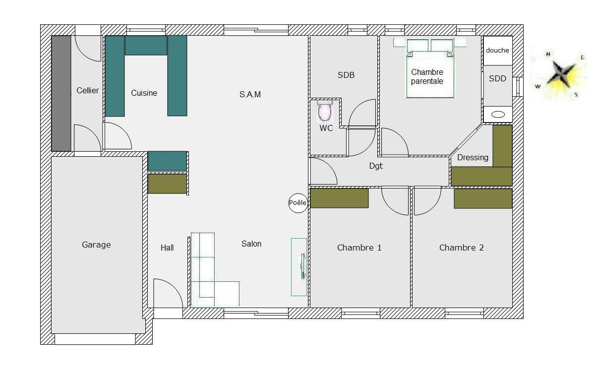 Plan Maison Rectangulaire Design De Maison plan maison rectangulaire plain pied 100m2 madame ki ...