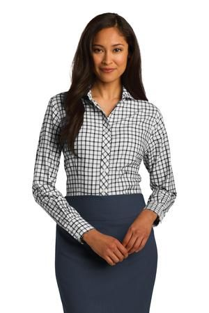 Red House® Ladies Tricolor Check Non-Iron Shirt in Black/White/Grey. RH75. $56.00 each (XS-XL). #buttonup #womens #classic #fashion #checkered