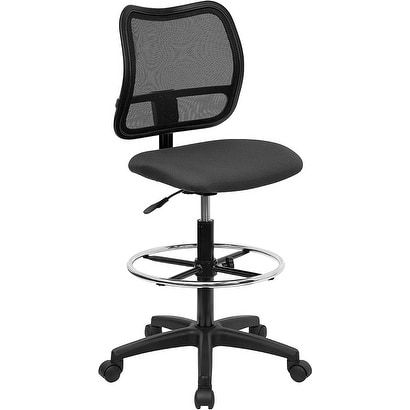 ihome boswell mid back gray mesh professional drafting chair grey