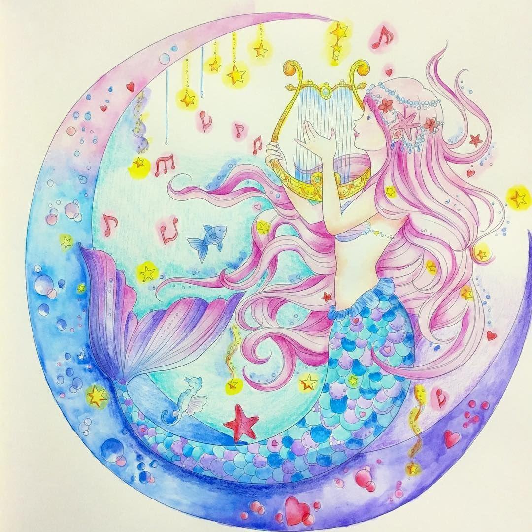 Gefallt 173 Mal 5 Kommentare Ooya935 Ofusuro935 Auf Instagram 塗りかけだった人魚さん やっと完成 夢色プリンセス塗り絵 たけいみき Prismacol Coloring Books Romantic Princess Color