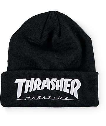 796dc6c15 Thrasher Embroidered Logo Black Beanie   Stuff to Buy   Black beanie ...
