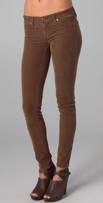 819bc5dd40299 AG ADRIANO GOLDSCHMIED The Super Skinny Brown Velvet Corduroy Legging Pants  25 #AGAdrianoGoldschmied #SlimSkinny