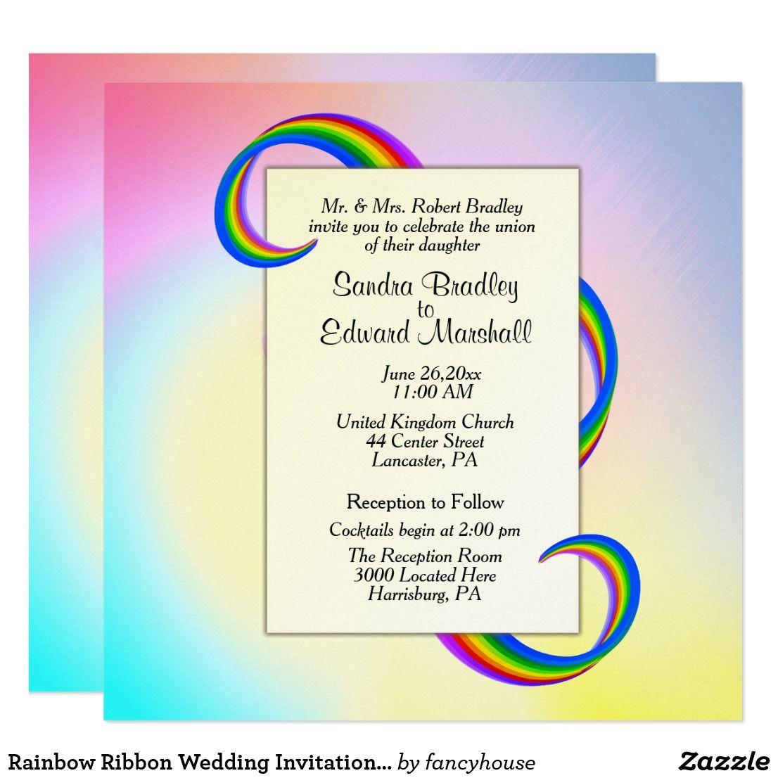 Rainbow Ribbon Wedding Invitation 5.25\