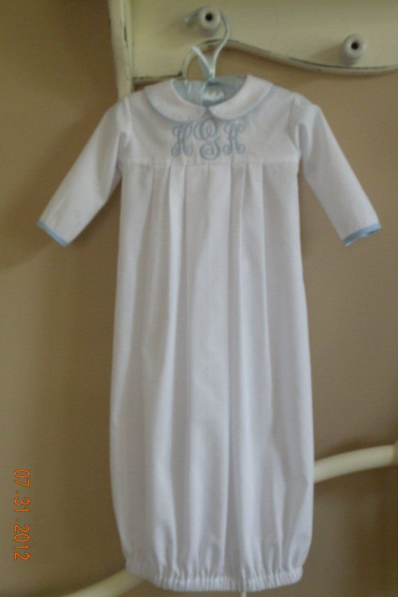 dcbc429fbf28 Infant Monogrammed Gown by TheSmockingGarden on Etsy