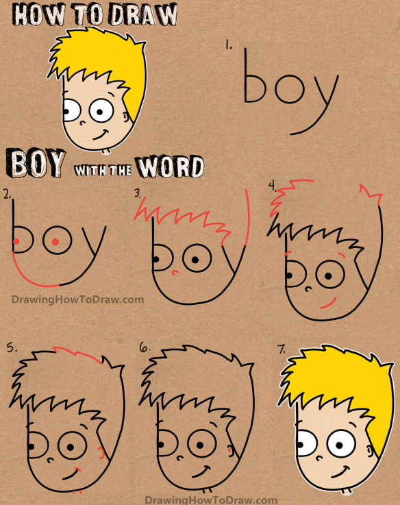 How To Draw A Cartoon Boy With The Word Boy Easy Tutorial For Kids How To Draw Step By Step Drawing Tutorials Word Drawings Drawing For Kids Easy Drawings