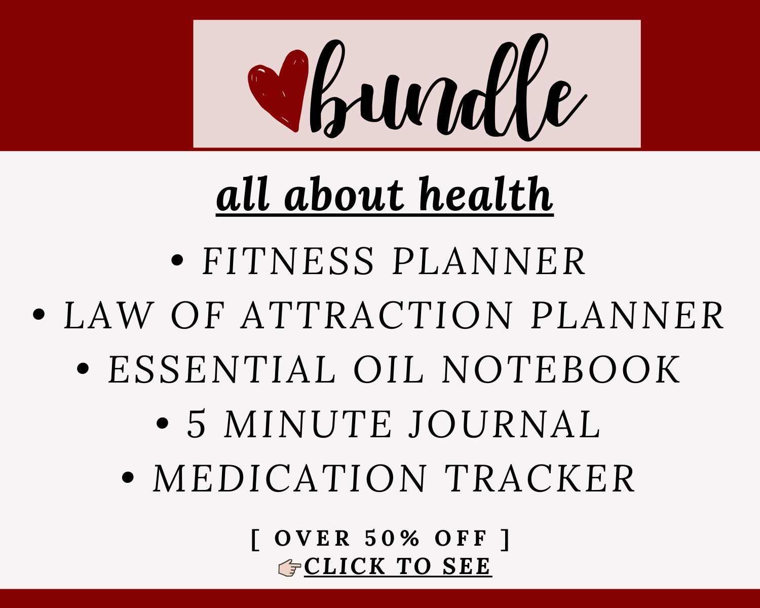 BUNDLE for HEALTH | Fitness Planner, Law of Attraction Planner, 5 Minute Daily Journal, Essential Oi...