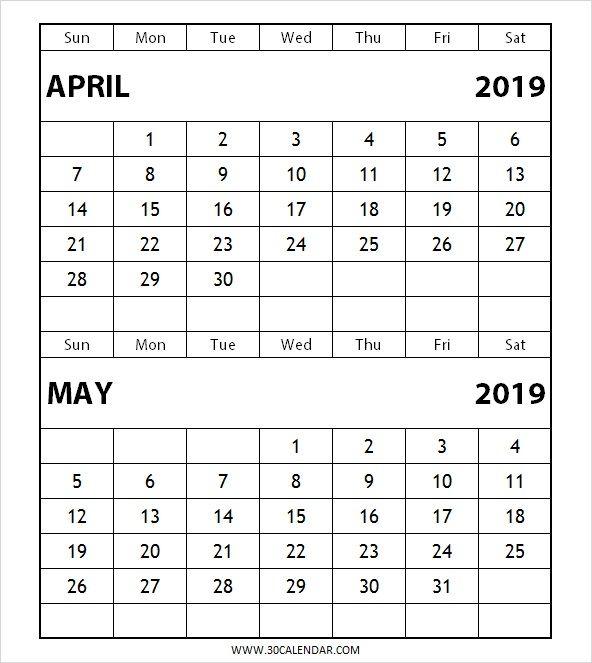 Two Month April May 2019 Calendar June 2019 Calendar Templates
