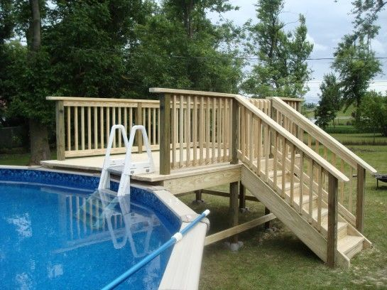 Gentil Above Ground Pool Deck Plans Oval Wood Decks Around Above Ground Pools .