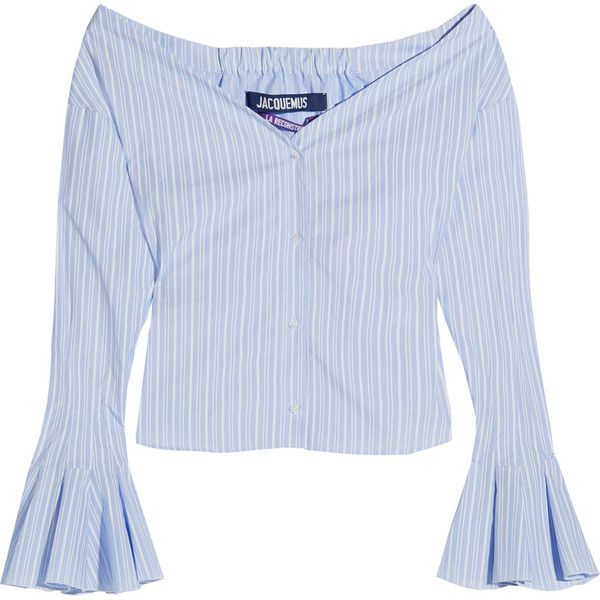 5611b29965 Jacquemus Off-the-shoulder striped cotton-poplin top (350 BAM) ❤ liked on  Polyvore featuring tops, blouses, shirts, blue, off the shoulder tops, ...