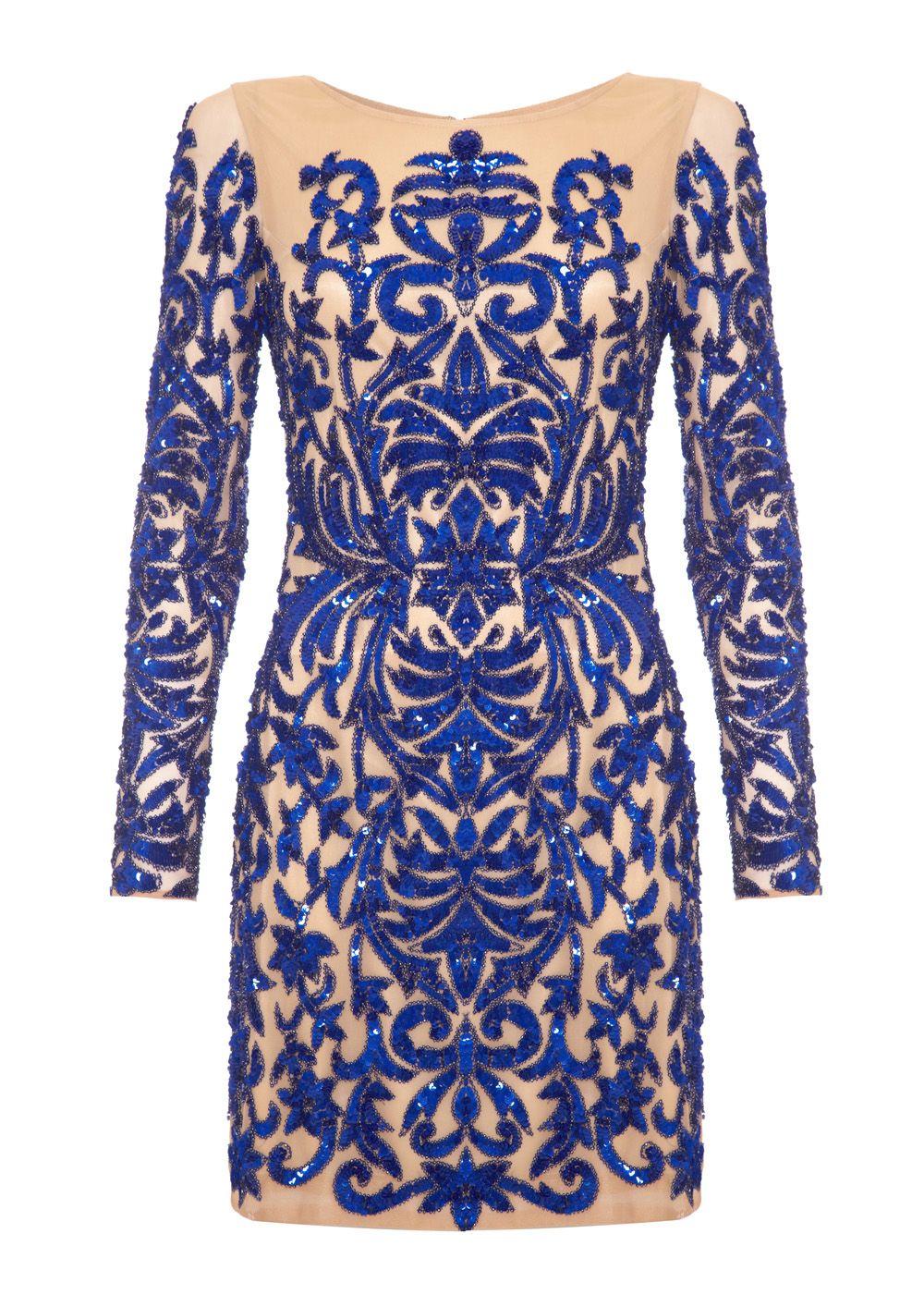 HOLLIES - Blue sequin patterned fully embellished dress | FOREVER ...
