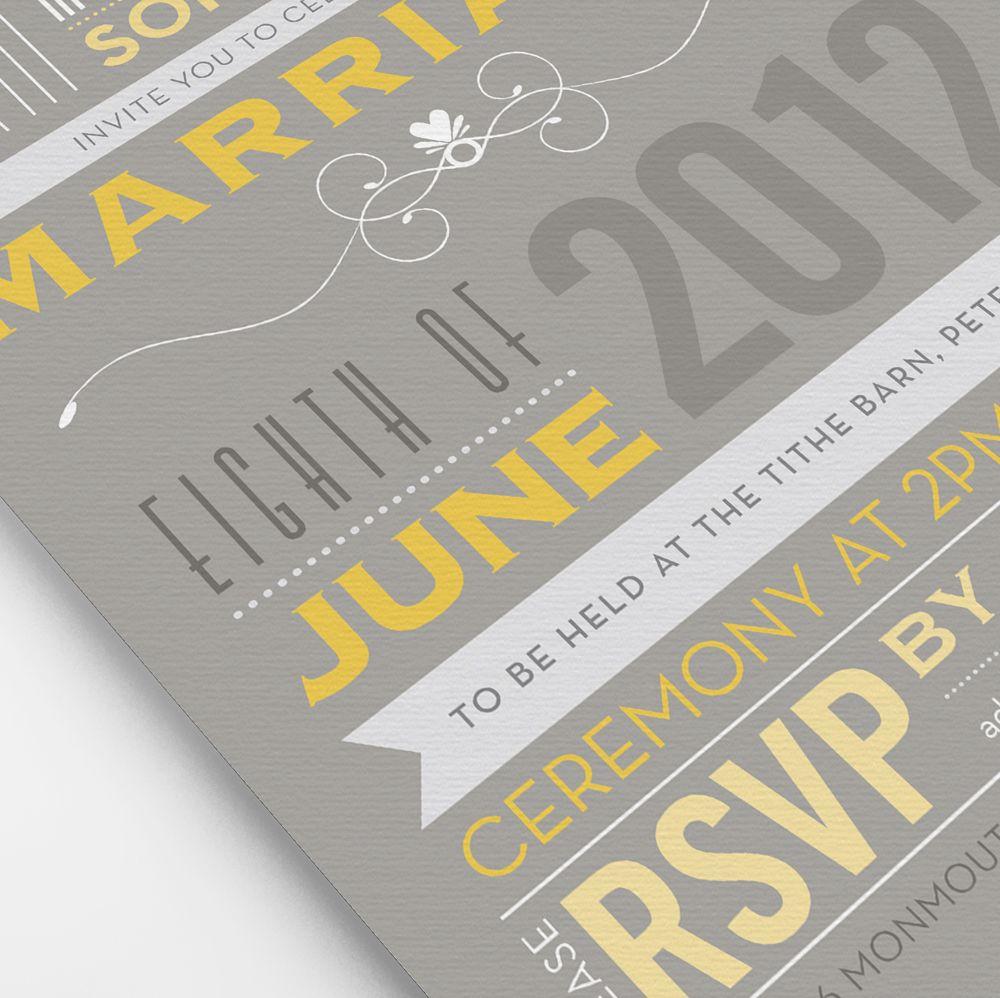 Grey and Yellow Invites Grey wedding invitations