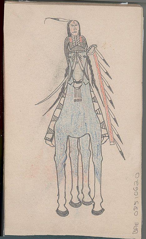 Ledger by an unknown Arikara artist, 1875. / Рисунок из бухгалтерской книги неизвестного художника, Арикара. Период 1875 год.