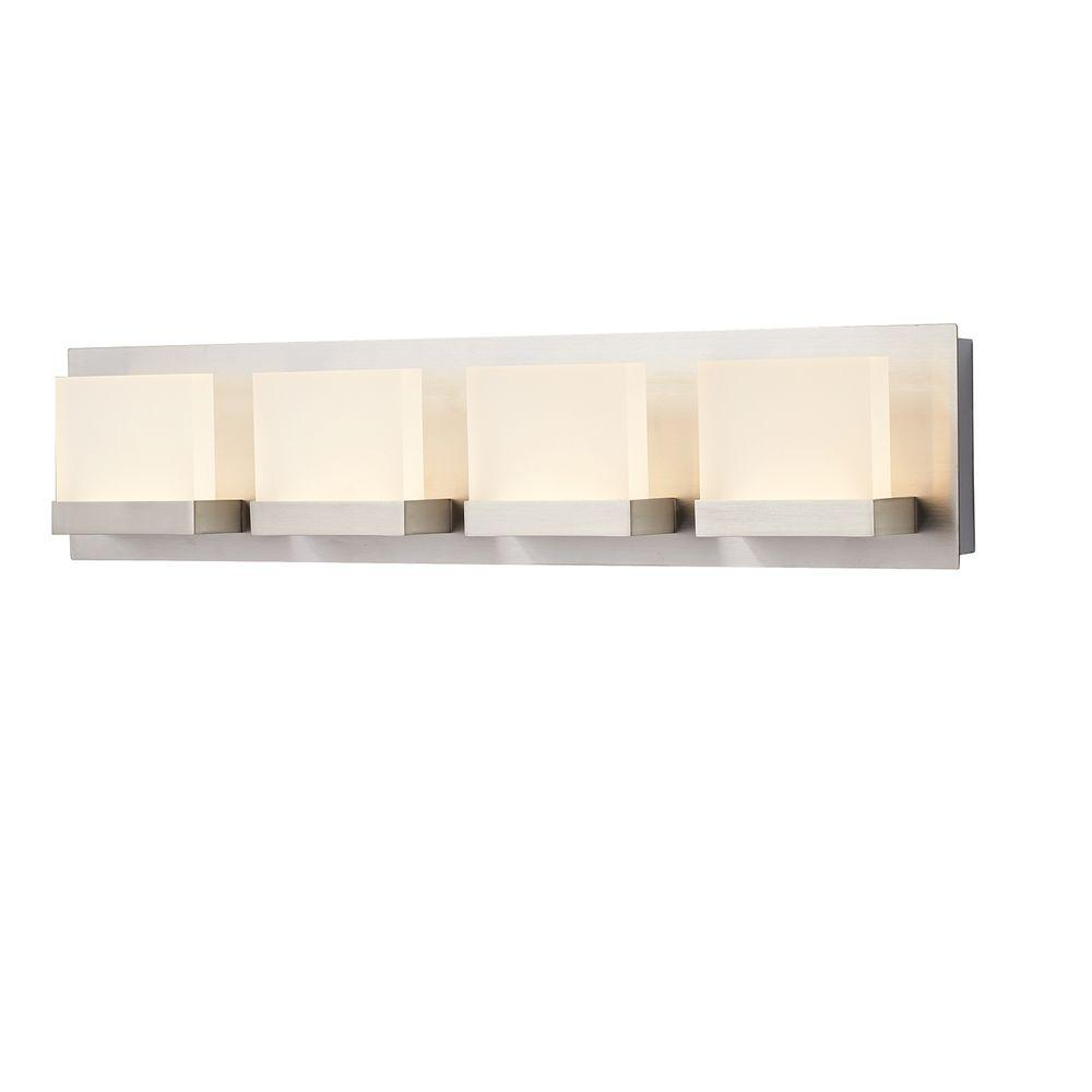 Home Decorators Collection Alberson Collection 4 Light Brushed Nickel Led Bath Bar Light 2 Bar Light Fixtures Bathroom Light Bar Contemporary Bathroom Lighting