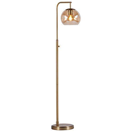 Rivet hudson mid century brass floor lamp with b