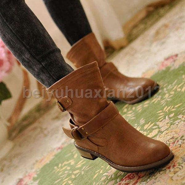 Fashion Women Driving Shoes Flat Heel Winter Short Booties Ankle Boots