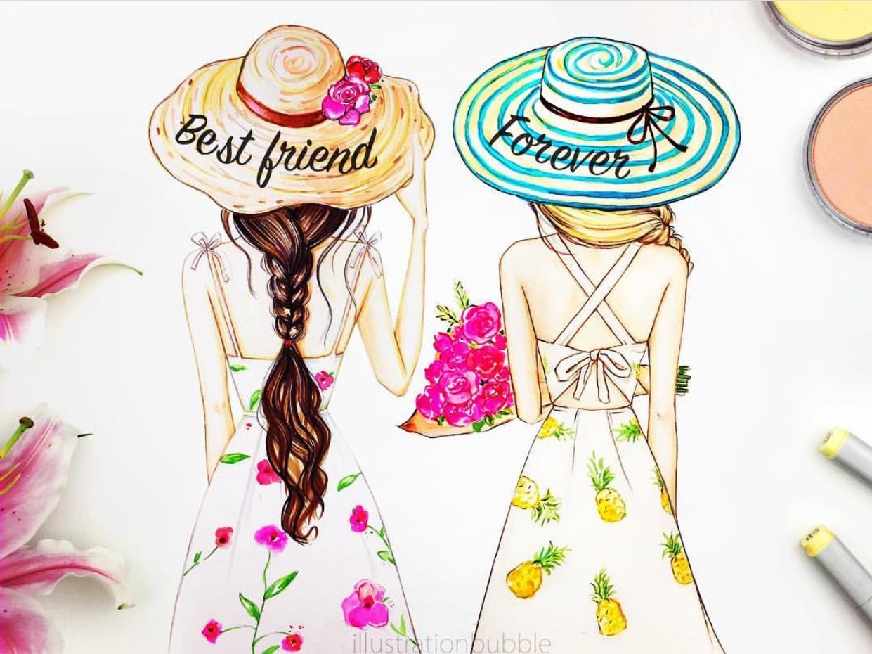 Uncategorized Best Friend Drawing i love pretty dresses girls fashion pinterest bff drawings you are my best friend forever your best