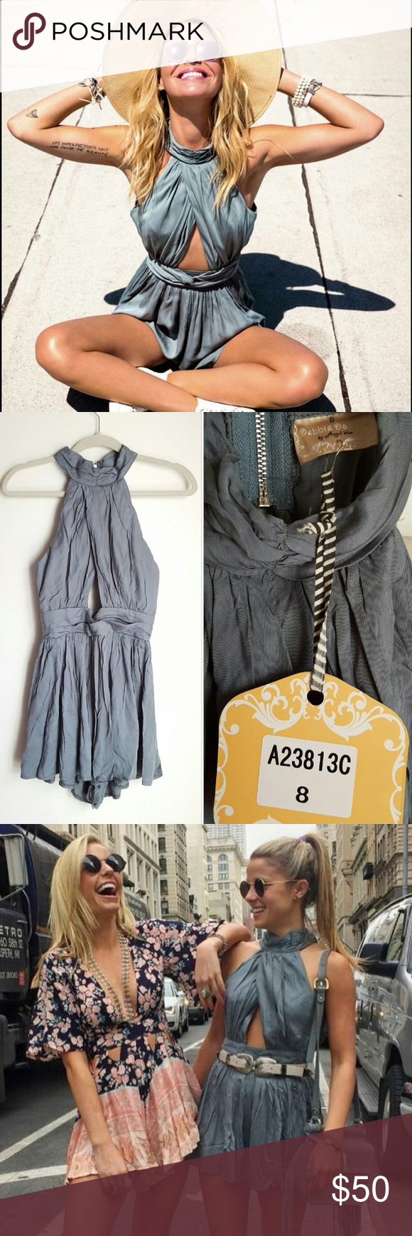 d2ce02b4008f LF Green Keyhole Romper Olive army green color -- can fit xs-M -- cute  cutout   zipper in back