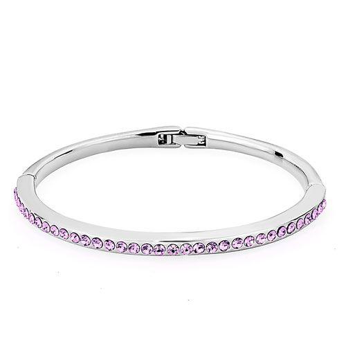 Bracelets - silver chain embedded 12 colors birthstone clear swarovski elements crystal bracelets Image.