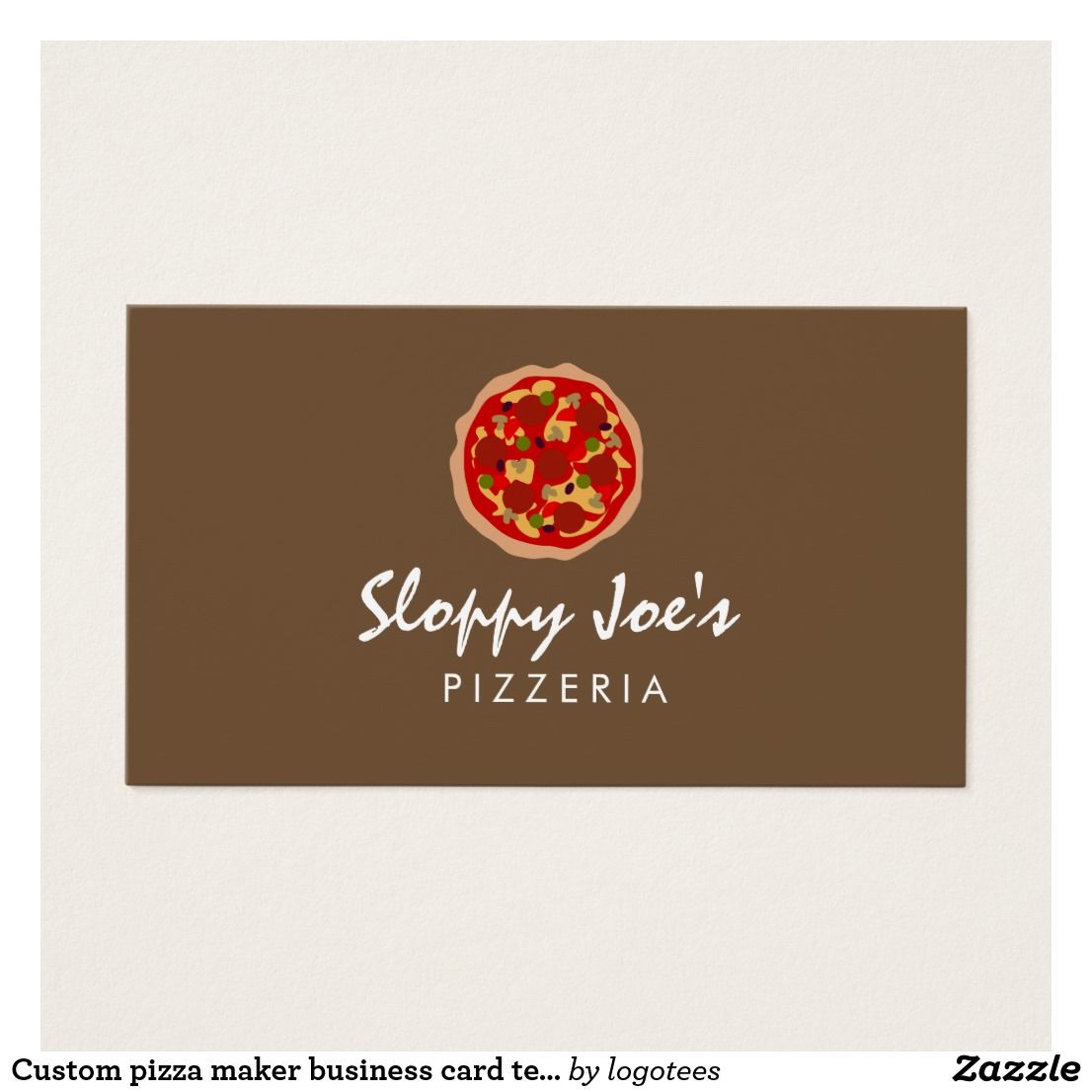 Custom pizza maker business card template simple pepperoni pizza custom pizza maker business card template fbccfo Images