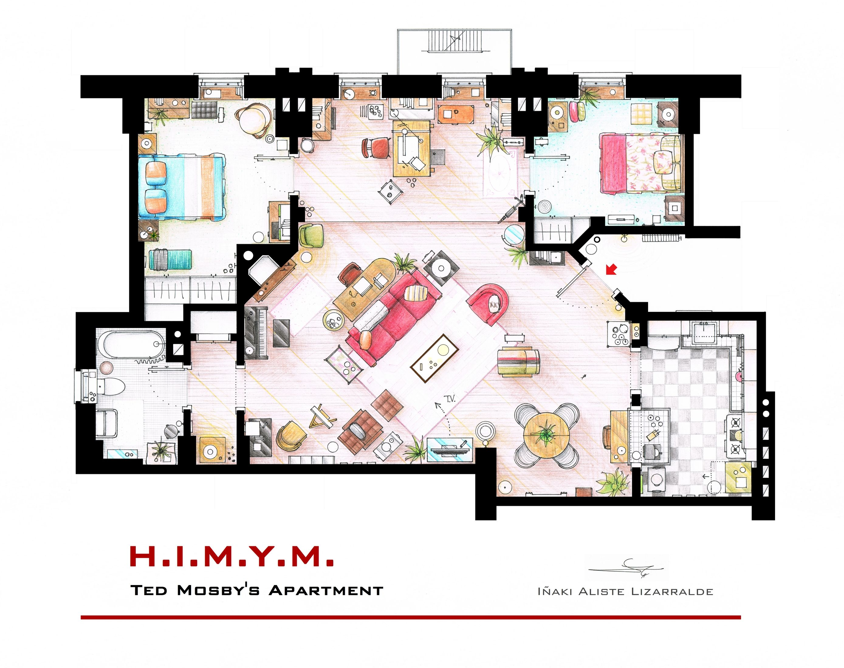 """Ted Mosby s Apartment from """"HIMYM"""" This is a hand drawed plan in"""
