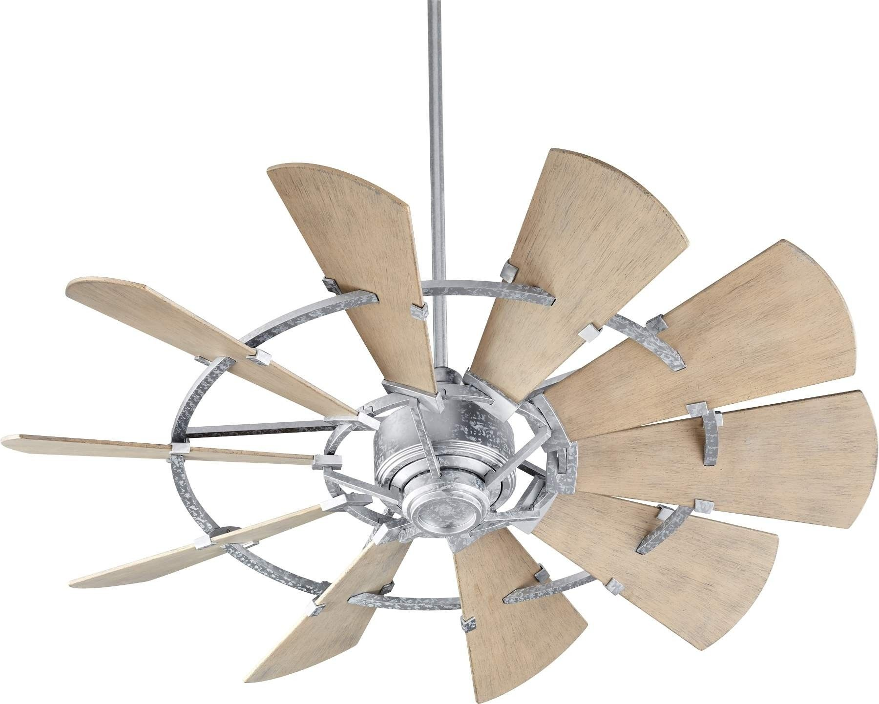 52 Quorum Windmill Ceiling Fan Damp Rated Model 195210 9 In Galvanized Windmill Ceiling Fan Ceiling Fan