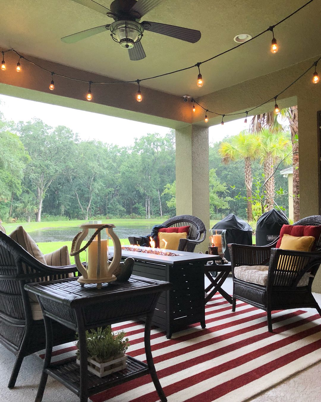 Love The Fire Pit Table And String Lights Melonie Tampa Fl Themellionairehouse Instagram Photos Videos