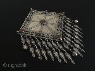 Turkmen-tekke ethnic tribal silver pendant with cornalian