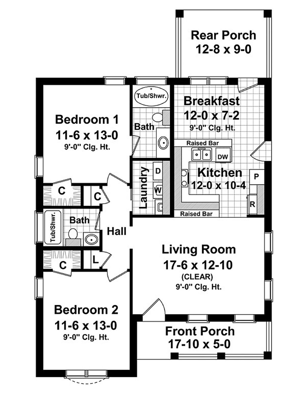 Cottage style house plan 2 beds baths 1100 sq ft for Two bedroom hall kitchen house plans