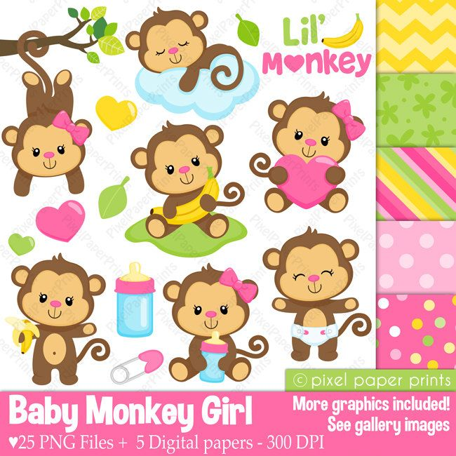 Baby Monkey Girl Clipart And Digital Paper Set Monkey Clip Etsy Clipart Chica Manualidades Papel Digital