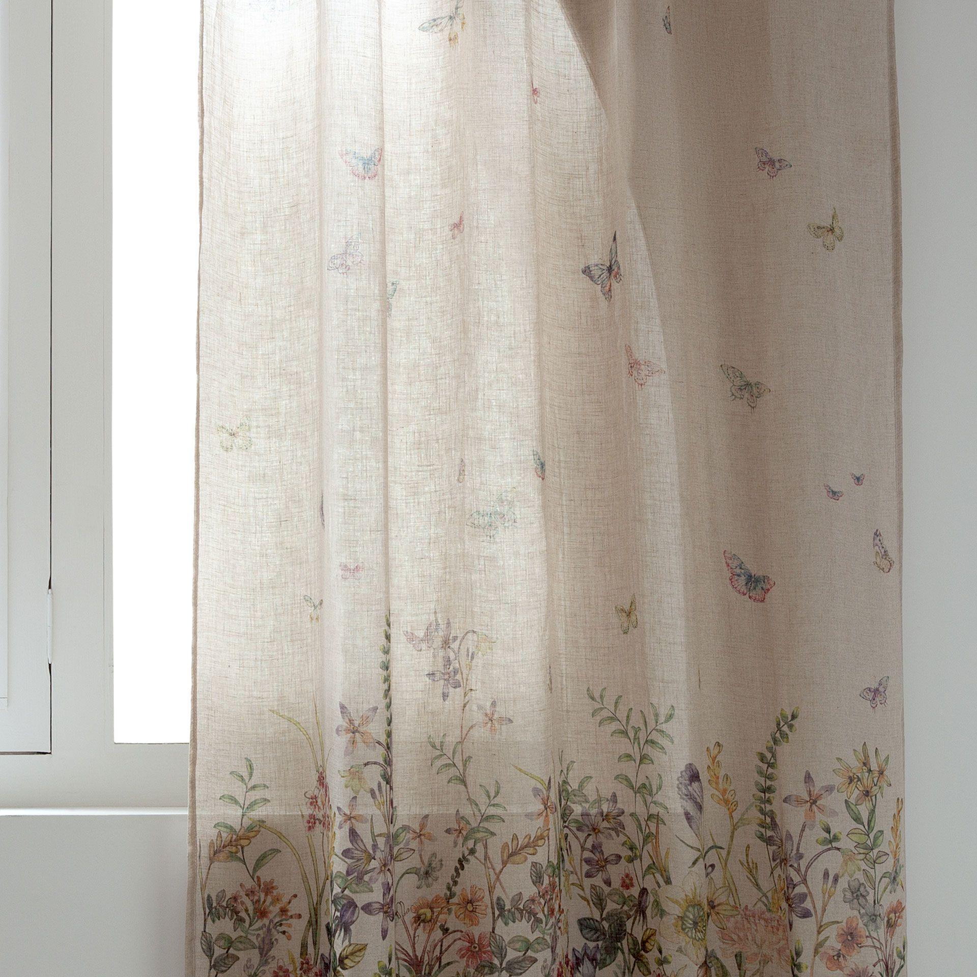 Rideau Lin Imprime Floral Rideaux Lit Zara Home France